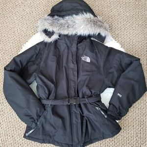 North Face 550 Full Zip Hooded Puffer Jacket Coat